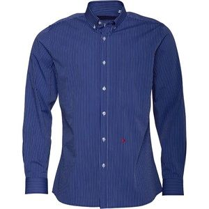 moschino • blue and white pinstripe button down